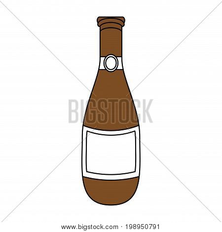 Flat line beer bottle with a hint of color over white background vector illustration