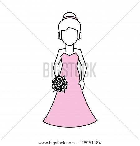 Flat line bride with a hint of color over white background vector illustration