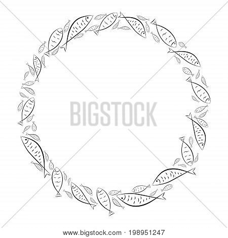 Circle frame. Ichthys is a symbol of fish. The ancient acronym of the name of Jesus Christ in Christian religion.  Vector design