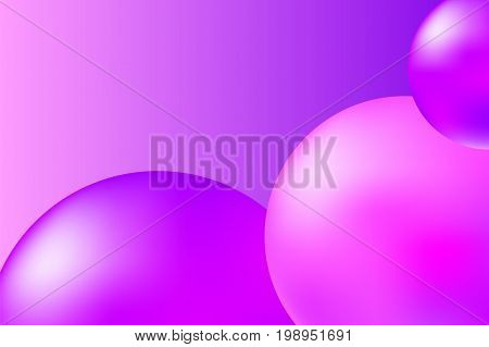 Abstract pink and violet background with realistic spheres. Trendy pink abstract vector illustration. Pink violet fitballs on vibrant background. Fashion or beauty banner template. Feminine backdrop