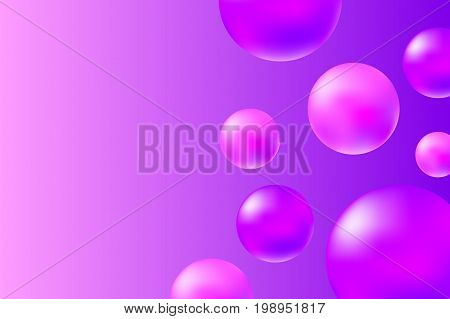 Abstract pink and violet background with realistic spheres. Trendy pink abstract vector illustration. Pink violet molecules on vibrant background. Fashion or beauty banner template. Feminine backdrop