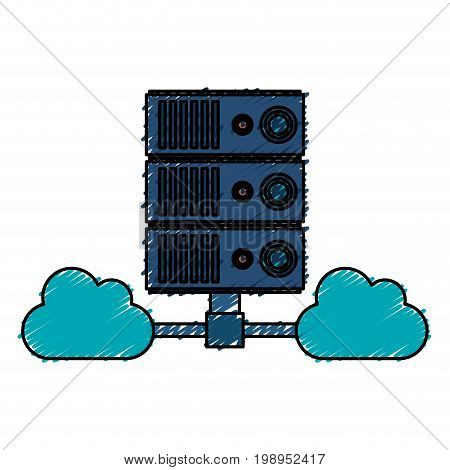 Colorful cloud server doodle over white background vector illustration