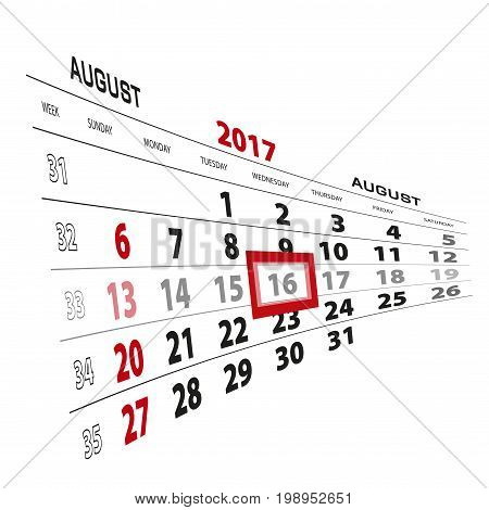 August 16, Highlighted On 2017 Calendar. Week Starts From Sunday.