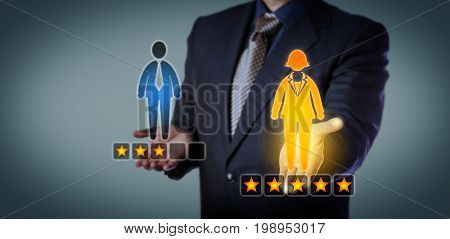 Blue chip recruiting executive preferring a female employee with a five star rating over a male worker with three stars. Business concept for talent acquisition performance review and gender gap.