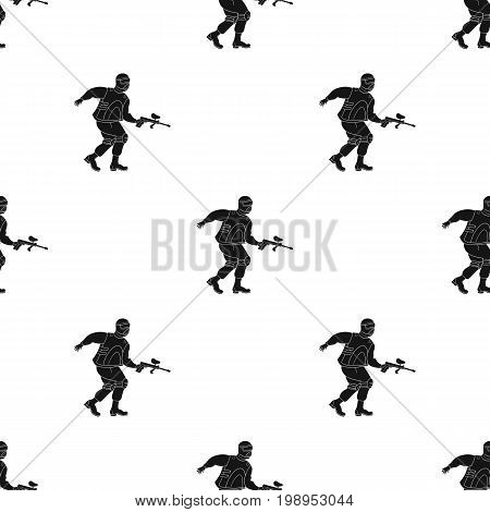 Paintball player icon in black design isolated on white background. Paintball symbol stock vector illustration.