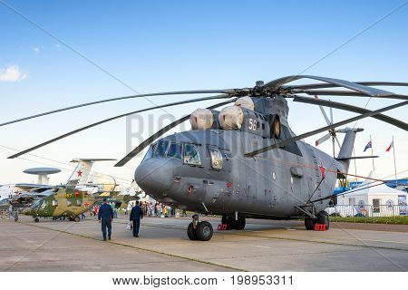 Moscow Region - July 21, 2017: Russian heavy transport helicopter Mil Mi-26 at the International Aviation and Space Salon (MAKS) in Zhukovsky. it is the largest and most powerful helicopter in the world.