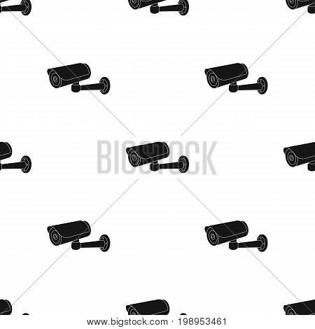 Security camera icon in black design isolated on white background. Parking zone symbol stock vector illustration.