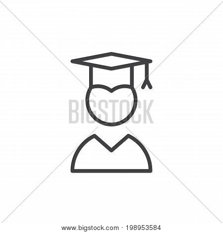 Graduate line icon, outline vector sign, linear style pictogram isolated on white. Symbol, logo illustration. Editable stroke. Pixel perfect vector graphics