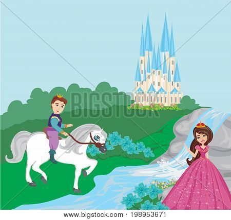 princess and the prince in a beautiful garden , vector illustration