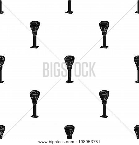 Parking meter icon in black design isolated on white background. Parking zone symbol stock vector illustration.