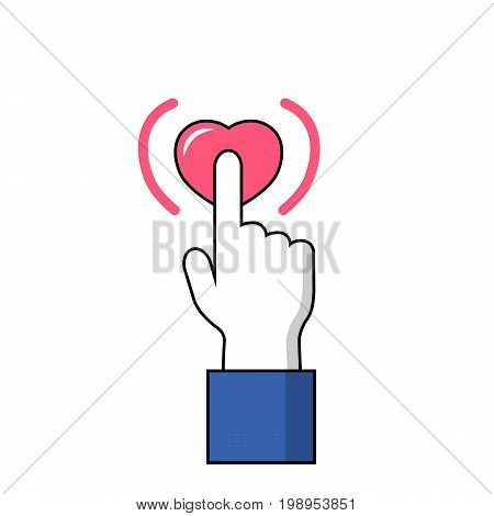 Hand with pointed finger on heart button. Facebook hand on Like button vector icon on white background. Love heart sign under signal finger. Human hand with pointed finger in flat style. Heart signal