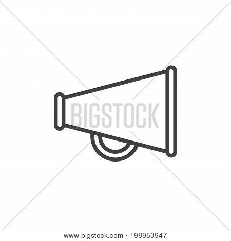 Bullhorn line icon, outline vector sign, linear style pictogram isolated on white. Loudspeaker symbol, logo illustration. Editable stroke. Pixel perfect vector graphics