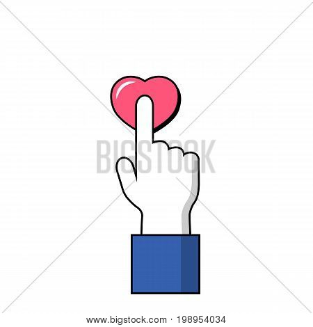 Pointing finger on pink heart button. Human hand on love symbol. Hand and finger icon. Signal finger click on button. St Valentine tap on heart icon. Pushing heart. Pink love sign in hand. Cursor icon