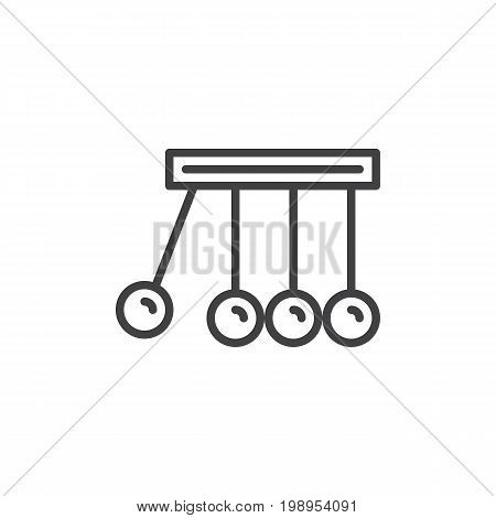 Physics line icon, outline vector sign, linear style pictogram isolated on white. Newton's cradle symbol, logo illustration. Editable stroke. Pixel perfect vector graphics