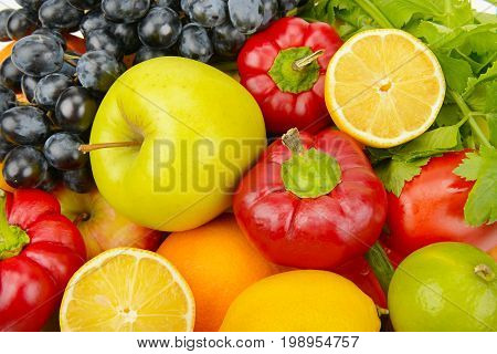 beautiful background of a set of vegetables and fruits