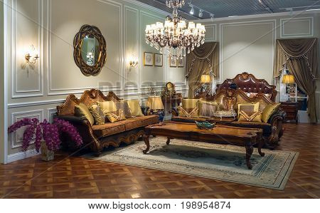 Luxurious interior. Room in classic style. Vintage decorations