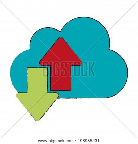 Colorful cloud and arrows doodle over white background vector illustration