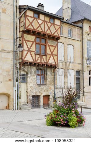Half-timbered house on the Place de Bar le Duc in the department of the Meuse in France