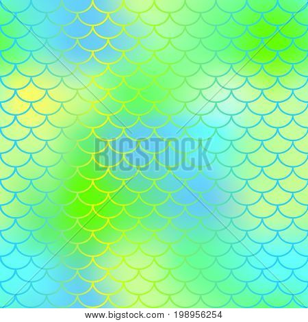 Fish scale texture vector pattern. Magic mermaid tail background. Colorful seamless pattern with fish scale net. Fresh green mermaid skin surface. Mermaid seamless pattern swatch. Nursery background
