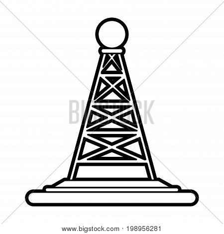 Flat line antenna uncolored over white background vector illustration