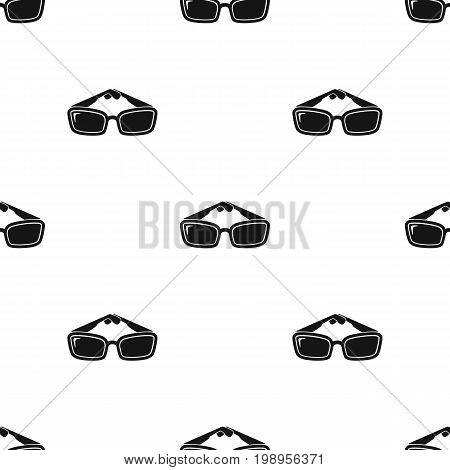 Sunglasses icon in black design isolated on white background. Picnic symbol stock vector illustration.