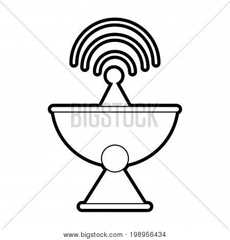 Flat line uncolored satellite antenna over white background vector illustration