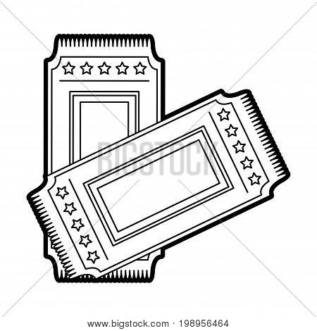 Flat line uncolored tickets over white background vector illustration
