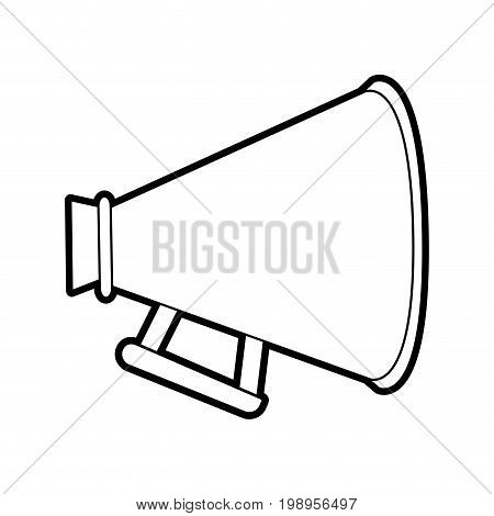 Flat line uncolored megaphone over white background vector illustration