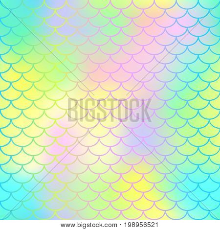 Fish scale texture vector pattern. Magic mermaid tail background. Colorful seamless pattern with fish scale net. Bright neon mermaid skin surface. Mermaid seamless pattern swatch. Nursery background