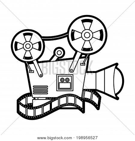 Flat line uncolored videocamera and film over white background vector illustration