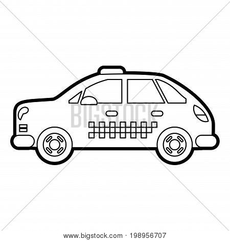 Flat line uncolored taxi cab over white background vector illustration