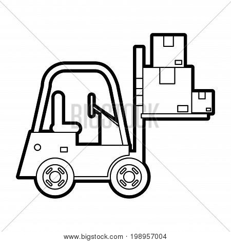 Flat line uncolored cargo lift car over white background vector illustration