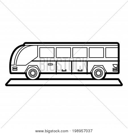 Flat line uncolored bus over white background vector illustration