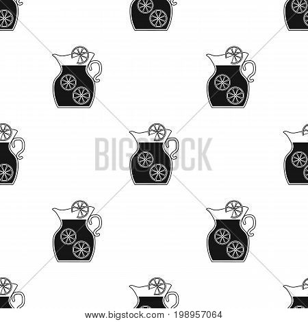 Jug of lemonade icon in black design isolated on white background. Picnic symbol stock vector illustration.