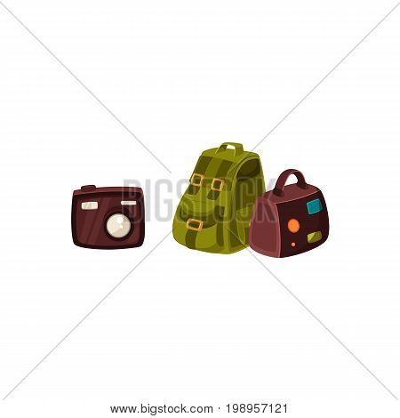 Travel bag, backpack and compact digital camera, vacation elements, cartoon vector illustration isolated on white background. Travel bags - handbag and backpack and tourist digital camera