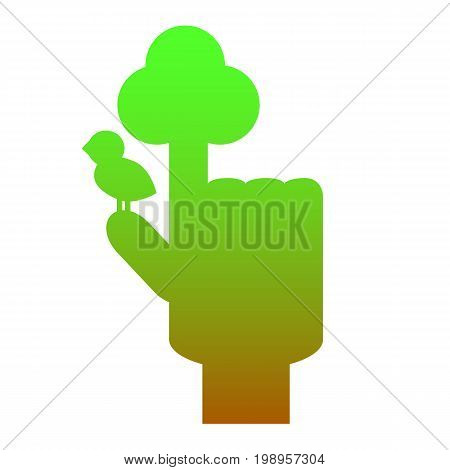 Human hand with pointed finger with symbolic tree and bird. Tree symbol by hand. Tree and bird logo. Green brown hand for environment ecological problem. Tree hand icon. Sustainable development sign