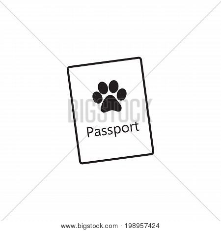 Pet passport, formal document, certificate for dog, cat, transportation, sketch vector illustration isolated on white background. Pet passport as small booklet with print on cover
