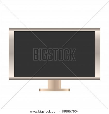 Vector mockup illustration of isolated LCD display with gold frame. Could be also used as a mock up or template of a PC Full HD screen monitor.