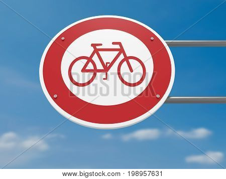 German Traffic Sign: Bicycles Prohibited Driving Ban 3d illustration