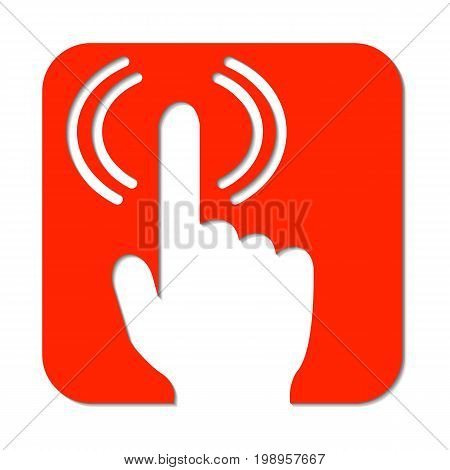 Hand with pointed finger and signal. Wifi signal from finger vector logo. Red alert sign with hand. Dont touch icon. Signal finger on red background. Alert flat icon. Wifi signal wave. Click button