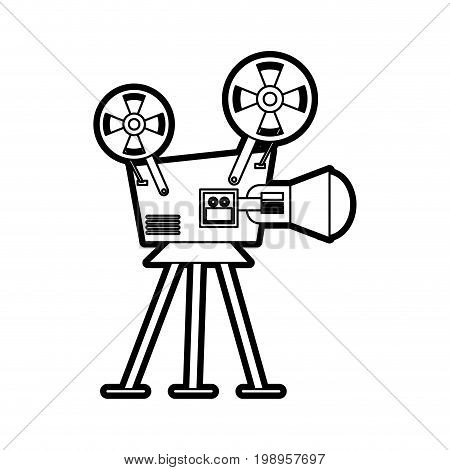 Flat line uncolored videocamera over white background vector illustration