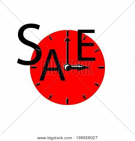 Sale inscription with clocks. Sales event square vector illustration. Red round clocks with typography. Black Friday advertisement. Seasonal discount icon or banner template. Black and red sale label