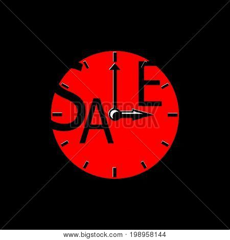 Sale inscription with red clocks. Sales event square vector illustration. Sale tag on black background. Black Friday advertisement. Seasonal discount icon or banner template. Black and red sale label