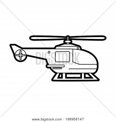 Flat line uncolored helicopter over white background vector illustration