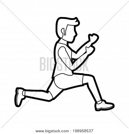 Flat line uncolored running man over white background vector illustration
