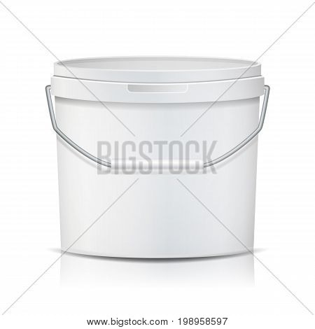 Plastic Bucket Vector. Realistic. Empty Clean. White Plastic Bucket For Dessert, Yogurt, Ice Cream, Sour Sream. Isolated On White Background Illustration