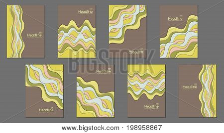 Brown and yellow cover templates, banners, flyers, scientific magazines, business brochures, educational newsletters design. Front page design collection with flowing stripes, curve lines background.