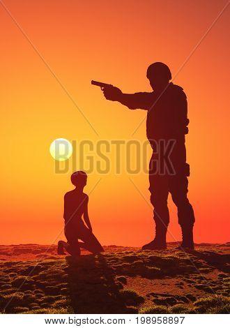 A soldier with a gun and a boy.,3d render
