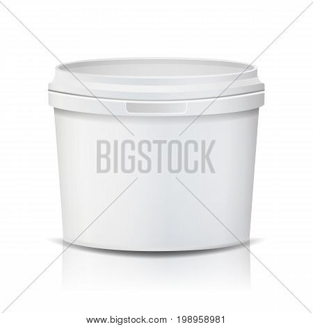 Realistic Bucket Vector. Template Bucket Container. Product Packaging Design For Food, Foodstuff, Paints. Isolated