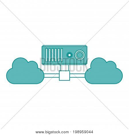 Flat line cloud server with hint of color over white background vector illustration